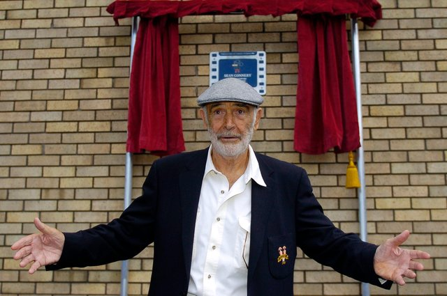 Sir Sean Connery unveiling a plaque to mark the site of his birthplace in Fountainbridge in 2010. Picture: Jane Barlow