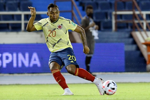 Rangers striker Alfredo Morelos in action for Colombia during a World Cup qualifier against Venezuela in Barranquilla last October. (Photo by Gabriel Aponte/Getty Images)