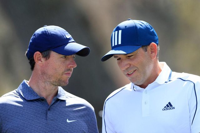 Rory McIlroy and Sergio Garcia of Spain during the first round of the Players' Championship at TPC Sawgrass in Ponte Vedra Beach, Florida. Picture: Sam Greenwood/Getty Images.