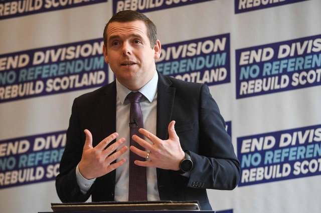 """Tory leader Douglas Ross, who is standing a list candidate for the Highlands & Islands, also accused the SNP of giving businesses in the North East a """"raw deal""""."""