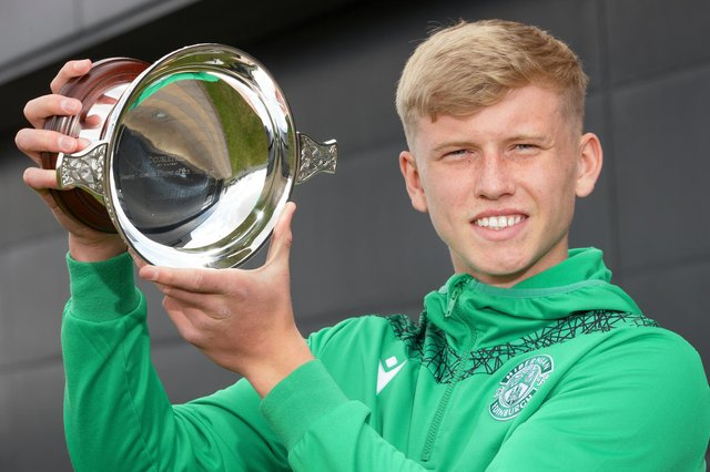 Hibs defender Josh Doig with the Doubletree by Hilton Scottish Football Writers' Young Scottish Player of the Year award. Photo by Steve Welsh