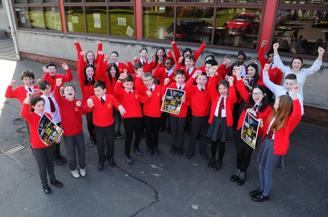 Children and teachers at St Francis Xavier's Primary School in Falkirk will be cheering on former pupil Craig Eddie in the final of ITV's The Voice on Saturday. Picture: Michael Gillen.
