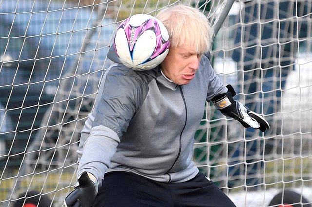 The grim prospect of Boris Johnson staging more football photo-ops looms large in light of his World Cup bid announcement. (Picture: Toby Melville/Getty Images)