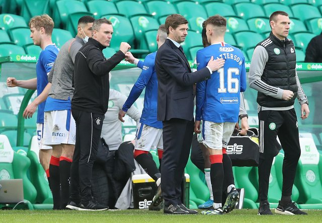 Rangers manager Steven Gerrard congratulates Nathan Patterson after the Ladbrokes Scottish Premiership match between Celtic and Rangers at Celtic Park on March 21, 2021 in Glasgow, Scotland. (Photo by Ian MacNicol/Getty Images)