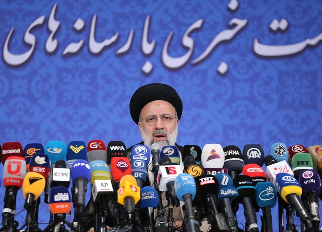 Incoming Iranian president Ebrahim Raisi speaks during his first press conference following the election in Tehran (Picture: Atta Kenare/AFP via Getty Images)