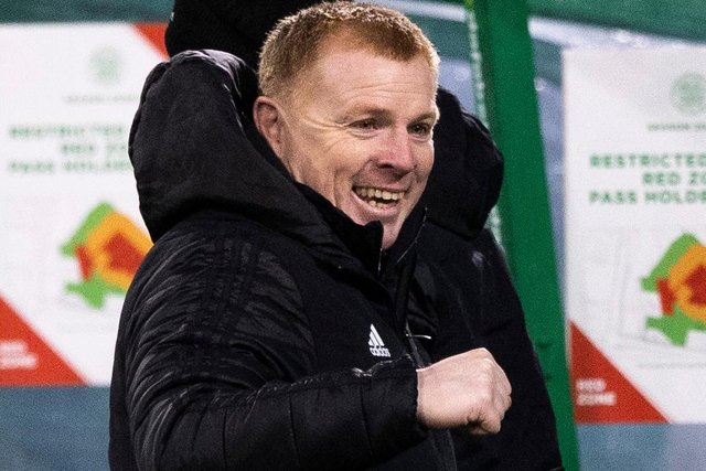 Celtic manager Neil Lennon can't hide his delight at full time following a second victory for the beleaguered club in a week. (Photo by Craig Williamson / SNS Group)