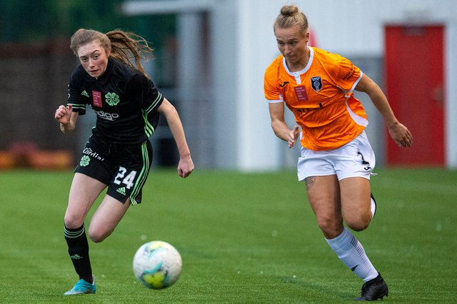 Celtic's Tegan Bowie and Glasgow City's Rachel McLauchlan met in October and will feature on BBC Alba when SWPL1 resumes on SUnday, April 4. Picture: Ross MacDonald / SNS