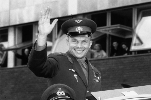 The first man to travel in space, Yuri Alekseyvich Gagarin arrives in London for a Russian trade fair (Picture: Douglas Miller/Getty Images)