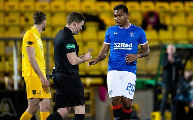 Alfredo Morelos is yellow carded by John Beaton for simulation during a Scottish Premiership match between Livingston and Rangers at The Tony Macaroni Arena, on March 03, 2021, in Livingston, Scotland. (Photo by Alan Harvey / SNS Group)