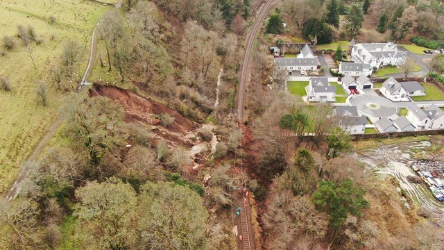The hillside at Fairlie was still moving a day after the landslip on Friday night. Picture: Network Rail