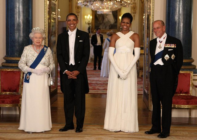 Queen Elizabeth and the Duke of Edinburgh posing with then US President Barack Obama and First Lady Michelle Obama in 2011