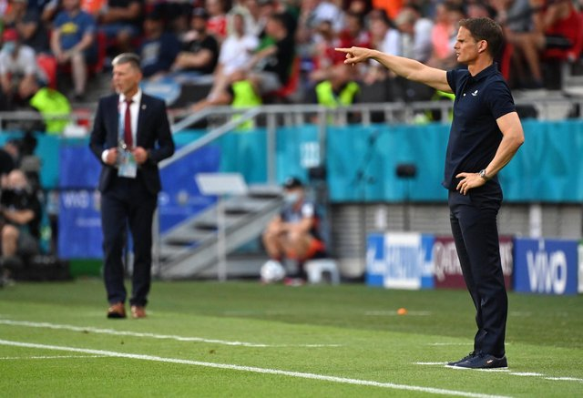 Frank de Boer (right) during what proved to be his final match in charge of the Dutch national team as they lost to Czech Republic in Budapest in the last 16 of Euro 2020 on Sunday. (Photo by Tibor Illyes - Pool/Getty Images)