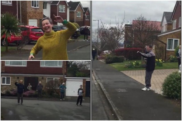Street of residents seen 'social distant dancing' together