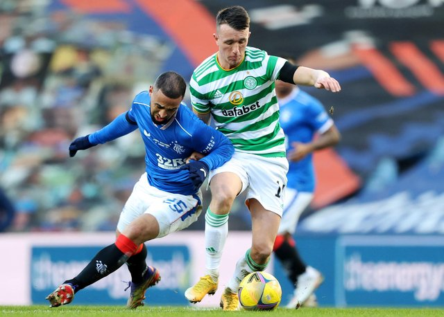 Celtic's David Turnbull (and Rangers' Kemar Roofe tussle in the January derby at Ibrox - now Eddie Howe could face two such monster assignments in his opening month. (Photo by Craig Williamson/SNS Group).