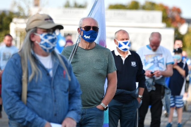 An independence rally is held outside BBC headquarters in Glasgow. Picture: John Devlin