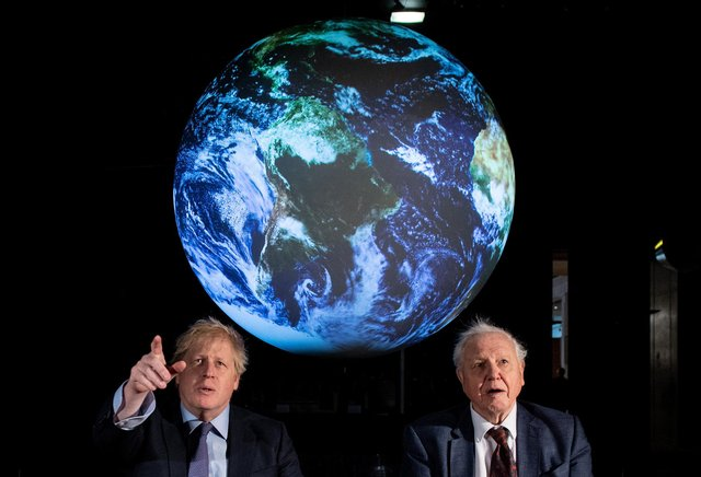 Boris Johnson and Sir David Attenborough at the launch of the Cop26 United Nations Climate Summit, which is being hosted by the UK in Glasgow (Picture: Chris J Ratcliffe/PA)