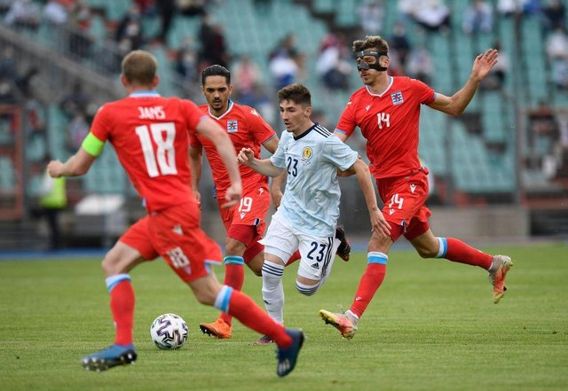 Scotland midfielder Billy Gilmour fights for the ball with Luxembourg forward Maurice Deville (R) during the friendly on June 6, 2021, in preparation for the UEFA 2020 European Championships. (Photo by JOHN THYS/AFP via Getty Images)