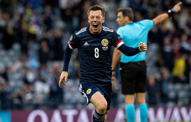 Callum McGregor celebrating after his goal in the 3-1 defeat to Croatia. New Celtic manager Ange Postecoglou says he will have talks with the player over the captaincy but stopped short of saying the midfielder had been ear-marked for the role. (Photo by Alan Harvey / SNS Group)