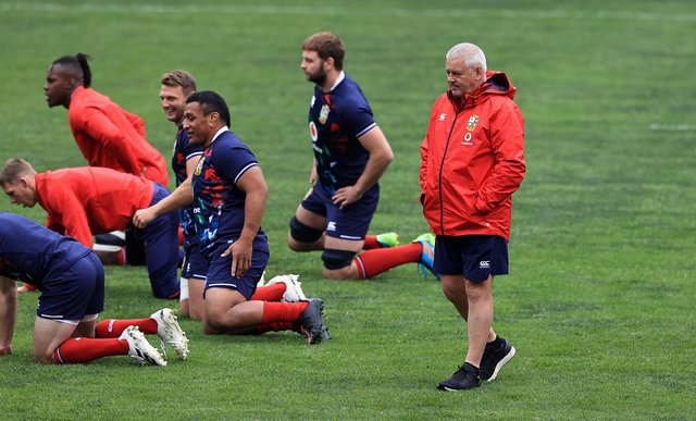 Lions head coach Warren Gatland looks on during training at Emirates Airline Park in Johannesburg. Picture: David Rogers/Getty Images