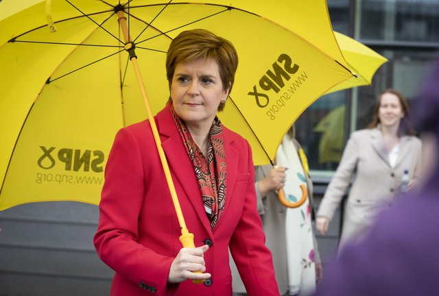First Minister Nicola Sturgeon outside the Scottish Parliamentary Elections at the Emirates Arena, Glasgow. Picture: Jane Barlow/PA Wire