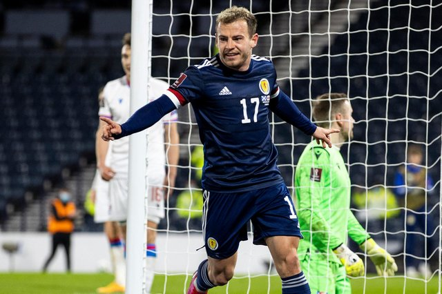 Ryan Fraser celebrates after scoring for Scotland in the win over Faroe Islands in March. (Photo by Craig Williamson / SNS Group)