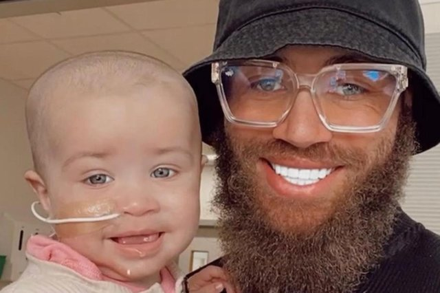 Cain's seven-month-old daughter is in urgent need of treatment for a rare and aggressive form of leukaemia. (Picture: AshleyCain/Instagram)