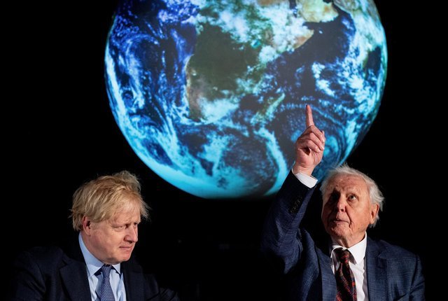 Prime Minister Boris Johnson and Sir David Attenborough at the launch of the UK-hosted COP26 UN Climate Summit last year.
