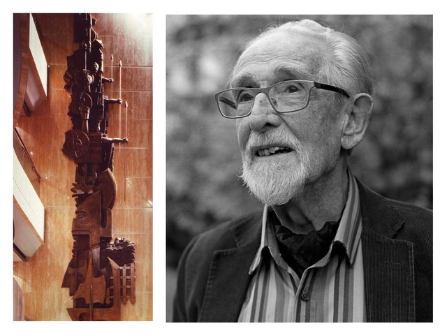 Artist Charles Anderson (right) and is 60ft sculpture which spanned four storeys at the old Prudential building at Craigforth, Stirling, which is now to be demolished. PIC: Portrait Michael Prince/Contributed.