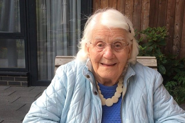 Alice Hall during a garden visit from her daughter Sheila.