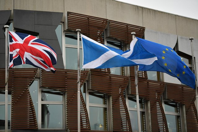 The European Union flag flies outside the Scottish Parliament on January 29, 2020 in Edinburgh. Picture: Jeff J Mitchell/Getty Images