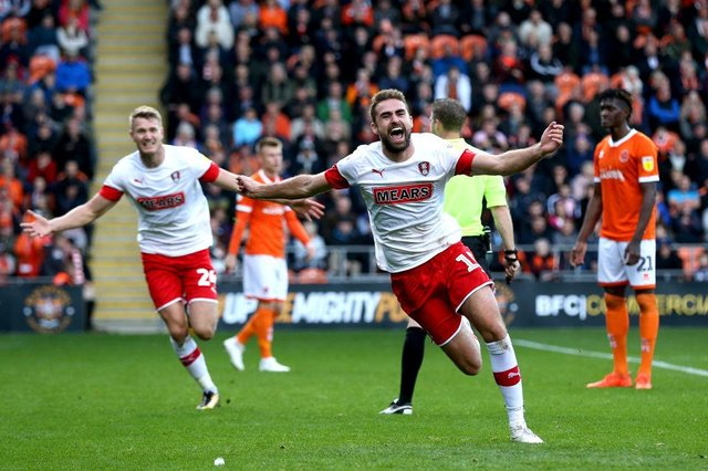 Clark Robertson celebrates scoring for Rotherham United against former club Blackpool in 2019. Picture: SNS