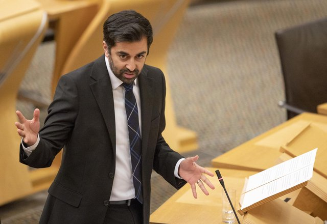 Humza Yousaf during a debate in the Scottish Parliament.