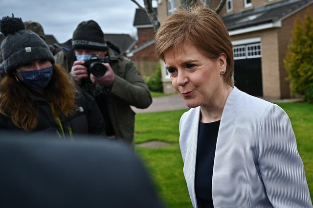 Scotland's First Minister Nicola Sturgeon leaves her home in Glasgow, Scotland. Picture: Jeff J Mitchell/Getty Images