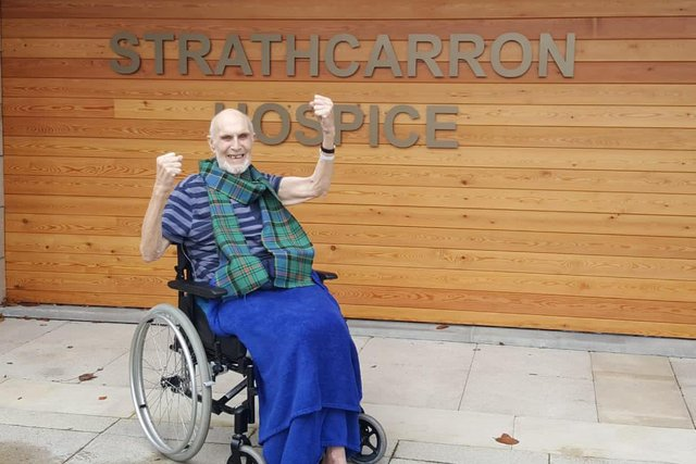 Strathcarron Hospice in-patient Willie Thomson shares his delight in the wake of Scotland's Euro 2020 play-off win versus Serbia. Contributed.
