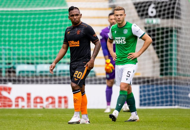 Ryan Porteous was in amongst the action for Hibs against Rangers on Sunday. Picture: SNS