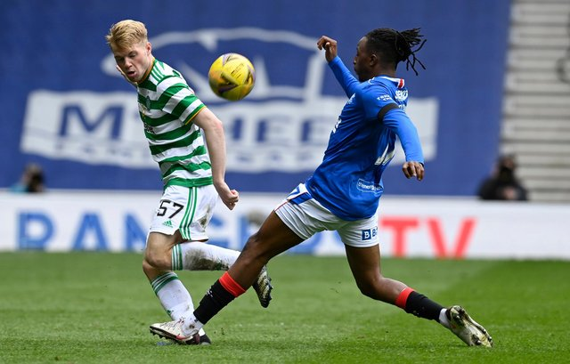 Celtic's Stephen Welsh (left) is tackled by Rangers' Joe Aribo during a Scottish Cup at Ibrox last weekend. Alan Stubbs believe the two clubs are brands that would attract major investment if they played in a British league. (Photo by Rob Casey / SNS Group)