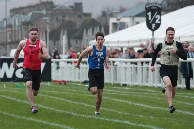 Ian Horsburgh, right, won the 2020 New Year Sprint at Musselburgh Racecourse. Picture: Stewart Attwood