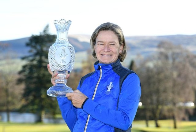Catriona Matthew, Europe's Solheim Cup captain, is set to play in the inaugural Aramco Team Series event in a fortnight's event. Picture: Mark Runnacles/Getty Images.