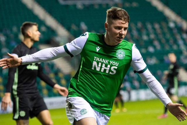 Hibs' Kevin Nisbet celebrates scoring earlier in the season but the Leith side have not been on target enough in recent weeks and will need to rediscover that scoring form to reinvigorate their league campaign. Photo by Craig Foy / SNS Group
