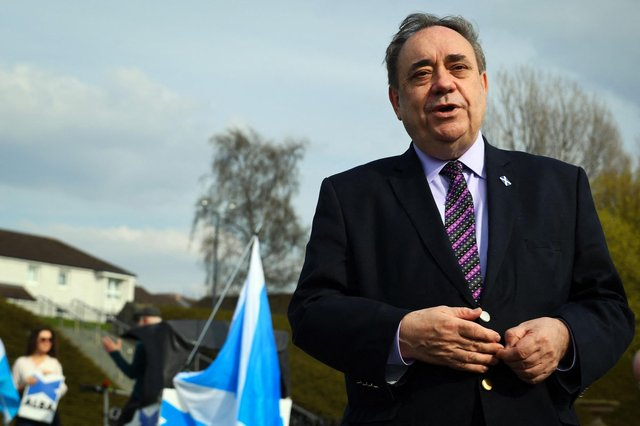 ALBA Party Leader Alex Salmond speaks as he launches his Glasgow campaign at the People's Palace on Glasgow Green in Glasgow on April 19, ahead of the Scottish Parliamentary election on May 6 (Photo by Andy Buchanan / AFP).