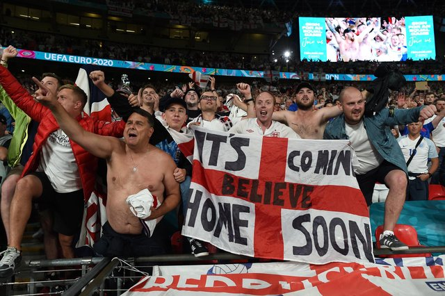 England fans celebrate their team's Euro 2020 semi-final victory over Denmark on Wednesday night (Photo by Paul Ellis - Pool/Getty Images)