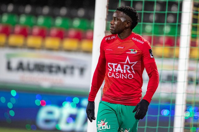 Fashion Sakala has scored 13 goals in 30 games for Oostende so far this season as the Belgian club challenge for European qualification. (Photo by KURT DESPLENTER/BELGA MAG/AFP via Getty Images)
