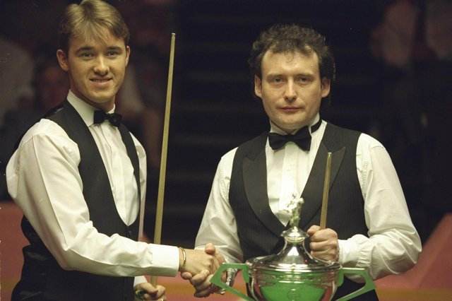Stephen Hendry and Jimmy White contested four World Championship finals in the space of five years and Hendry prevailed on each occasion in 1990, 1992, 1993 and 1994. Picture: Allsport/Getty Images