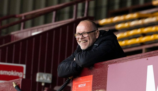 Ross County manager John Hughes watches on from the stands at Fir Park. Picture: SNS