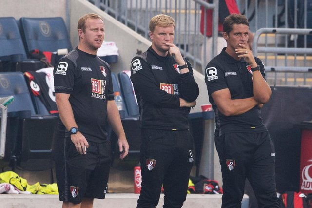 Bournemouth first team coach Simon Weatherstone, pictured alongside then manager Eddie Howe in 2015.
