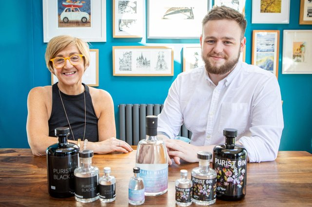 Bruce Walker, 22, from Broomhill, with his mother Colette Filippi, CEO of Purist Gin.