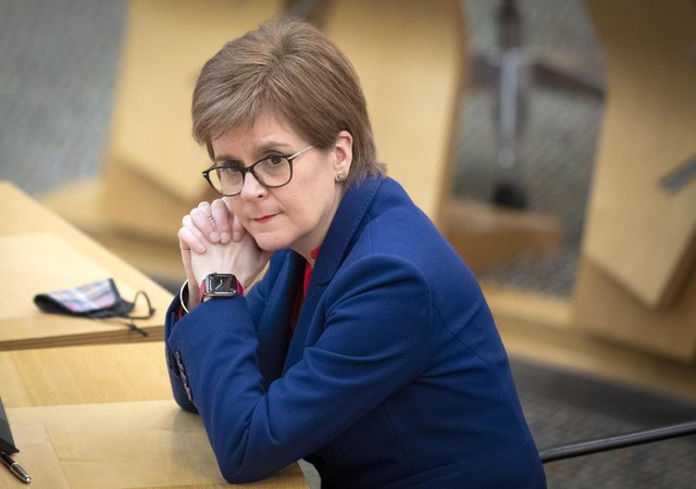 First Minister of Scotland, Nicola Sturgeon, during a Covid briefing at the Scottish Parliament in Holyrood, Edinburgh. Picture date: Tuesday March 2, 2021.