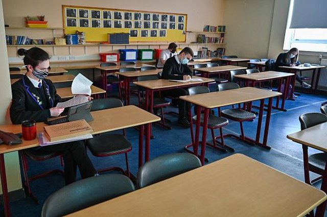 Pupils at Rosshall Academy, Glasgow, Scotland. Picture: Jeff J Mitchell/Getty Images.