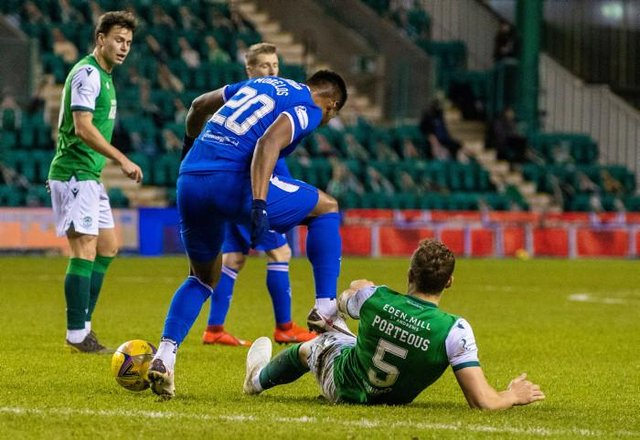 Rangers' Alfredo Morelos appears to stand on Hibernian's Ryan Porteous during a Scottish Premiership match between Hibernian and Rangers at Easter Road, on January 27, 2021, in Edinburgh, Scotland (Photo by Craig Williamson / SNS Group)
