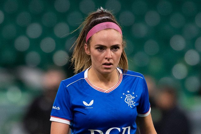 GLASGOW, SCOTLAND - APRIL 21: Kirsten Reilly in action for Rangers during a SWPL match  between Celtic and Rangers at Celtic Park, on April 21, 2021, in Glasgow, Scotland. (Photo by Craig Foy / SNS Group)